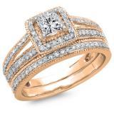1.00 Carat (ctw) 14K Rose Gold Princess & Round Cut Diamond Ladies Split Shank Halo Bridal Engagement Ring With Matching Band Set 1 CT