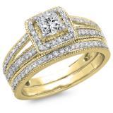 1.00 Carat (ctw) 14K Yellow Gold Princess & Round Cut Diamond Ladies Split Shank Halo Bridal Engagement Ring With Matching Band Set 1 CT