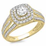 1.10 Carat (ctw) 10K Yellow Gold Round Cut Diamond Ladies Split Shank Vintage Style Bridal Halo Engagement Ring 1 CT