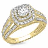 1.10 Carat (ctw) 14K Yellow Gold Round Cut Diamond Ladies Split Shank Vintage Style Bridal Halo Engagement Ring 1 CT