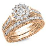 0.85 Carat (ctw) 14K Rose Gold Round Cut Diamond Ladies Vintage Style Bridal Cluster Engagement Ring With Matching Band Set