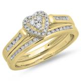 0.50 Carat (ctw) 10K Yellow Gold Round Cut Diamond Ladies Heart Shaped Bridal Engagement Ring With Matching Band Set 1/2 CT