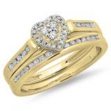0.50 Carat (ctw) 14K Yellow Gold Round Cut Diamond Ladies Heart Shaped Bridal Engagement Ring With Matching Band Set 1/2 CT