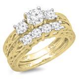1.50 Carat (ctw) 10K Yellow Gold Round Cut Diamond Ladies Vintage 3 Stone Bridal Engagement Ring With Matching 4 Stone Wedding Band Set 1 1/2 CT
