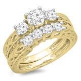 1.50 Carat (ctw) 14K Yellow Gold Round Cut Diamond Ladies Vintage 3 Stone Bridal Engagement Ring With Matching 4 Stone Wedding Band Set 1 1/2 CT