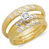 0.05 Carat (ctw) 18K Yellow Gold Round White Diamond Men & Women's Engagement Ring Trio Bridal Set