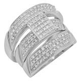 0.65 Carat (ctw) 10K White Gold Round White Diamond Men & Womens Micro Pave Engagement Ring Trio Bridal Set