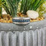 0.65 Carat (ctw) Sterling Silver Round Blue Diamond Men's Wedding Anniversary Band Ring