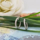0.44 Carat (ctw) Sterling Silver Round White Diamond Ladies Micro Pave Hoop Earrings