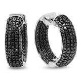 0.36 Carat (ctw) Sterling Silver Round Black Diamond Ladies Micro Pave Hoop Earrings 1/3 CT