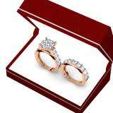 3.40 Carat (ctw) 10K Rose Gold Round Cut Diamond Ladies Cluster Bridal Engagement Ring With Matching Band Set
