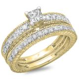 1.10 Carat (ctw) 14K Yellow Gold Princess & Round Cut Diamond Ladies Vintage Bridal Engagement Ring With Matching Band Set 1 CT