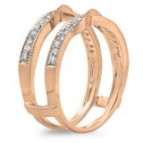 0.33 Carat (ctw) 14K Rose Gold Round Diamond Ladies Anniversary Wedding Band Enhancer Guard Double Ring 1/3 CT
