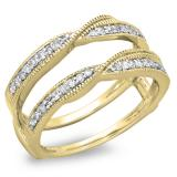 0.33 Carat (ctw) 18K Yellow Gold Round Diamond Ladies Anniversary Wedding Band Enhancer Guard Double Ring 1/3 CT