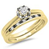 0.40 Carat (ctw) 10K Yellow Gold Round Black & White Diamond Ladies Bridal Halo Engagement Ring With Matching Band Set