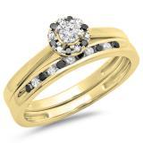 0.40 Carat (ctw) 14K Yellow Gold Round Black & White Diamond Ladies Bridal Halo Engagement Ring With Matching Band Set