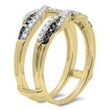 0.50 Carat (ctw) 10K Yellow Gold Round Black & White Diamond Ladies Swirl Anniversary Wedding Band Enhancer Guard Double Ring 1/2 CT