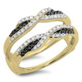 0.50 Carat (ctw) 14K Yellow Gold Round Black & White Diamond Ladies Swirl Anniversary Wedding Band Enhancer Guard Double Ring 1/2 CT
