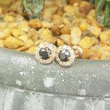 0.60 Carat (ctw) 10K Rose Gold Real Round Cut Black & White Diamond Ladies Cluster Halo Style Stud Earrings