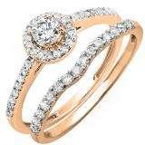 0.60 Carat (ctw) 10K Rose Gold Round Diamond Ladies Bridal Halo Engagement Ring With Matching Band Set