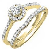 0.60 Carat (ctw) 14K Yellow Gold Round Diamond Ladies Bridal Halo Engagement Ring With Matching Band Set