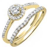 0.60 Carat (ctw) 18K Yellow Gold Round Diamond Ladies Bridal Halo Engagement Ring With Matching Band Set