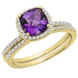 1.75 Carat (ctw) 10K Yellow Gold Cushion Cut Amethyst & Round Cut White Diamond Ladies Bridal Halo Engagement Ring With Matching Band Set 1 3/4 CT