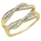0.40 Carat (ctw) 10K Yellow Gold Round Cut Diamond Ladies Anniversary Wedding Band Swirl Enhancer Guard Double Ring