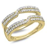 0.65 Carat (ctw) 10K Yellow Gold Round Cut Diamond Ladies Anniversary Wedding Band Enhancer Guard Double Ring