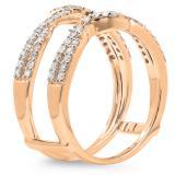 0.55 Carat (ctw) 14K Rose Gold Round Cut Diamond Ladies Anniversary Wedding Band Enhancer Swirl Guard Double Ring 1/2 CT