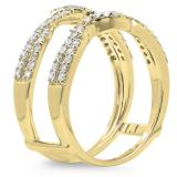 0.55 Carat (ctw) 14K Yellow Gold Round Cut Diamond Ladies Anniversary Wedding Band Enhancer Swirl Guard Double Ring 1/2 CT