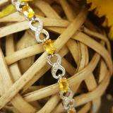 4.26 Carat (ctw) Sterling Silver Real Oval Cut Citrine & Round Cut White Diamond Ladies Infinity Link Tennis Bracelet