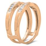 0.35 Carat (ctw) 14K Rose Gold Round Cut Diamond Ladies Millgrain Anniversary Wedding Band Guard Double Ring 1/3 CT