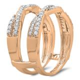 0.45 Carat (ctw) 14K Rose Gold Round Cut Diamond Ladies Anniversary Wedding Band Swirl Enhancer Guard Double Ring 1/2 CT