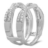 0.45 Carat (ctw) 14K White Gold Round Cut Diamond Ladies Anniversary Wedding Band Swirl Enhancer Guard Double Ring 1/2 CT