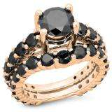 5.25 Carat (ctw) 18K Rose Gold Round Cut Black Diamond Ladies Bridal Engagement Ring With Matching Band Set