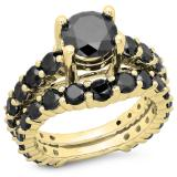 5.25 Carat (ctw) 18K Yellow Gold Round Cut Black Diamond Ladies Bridal Engagement Ring With Matching Band Set