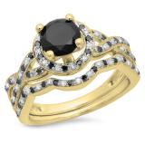 1.60 Carat (ctw) 10K Yellow Gold Round Black & White Diamond Ladies Halo Style Bridal Engagement Ring Matching Band Set