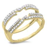 0.50 Carat (ctw) 14K Yellow Gold Round Diamond Ladies Anniversary Wedding Band Enhancer Swirl Double Guard Ring  1/2 CT