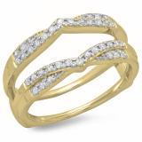 0.33 Carat (ctw) 10K Yellow Gold Round Cut Diamond Ladies Anniversary Wedding Band Enhancer Guard Double Chevron Ring 1/3 CT