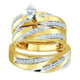 0.60 Carat (ctw) 14K Yellow Gold Marquise & Round Cut Diamond Men & Women's Engagement Ring Trio Bridal Set