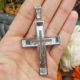 2.00 Carat (ctw) Sterling Silver Round Cut White Diamond Men's Hip Hop Religious Cross Pendant 2 CT