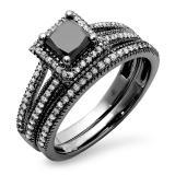 1.35 Carat (ctw) Black Rhodium Plated 10K White Gold Princess Cut Black & Round White Diamond Ladies Split Shank Halo Style Bridal Engagement Ring With Matching Band Set
