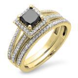 1.35 Carat (ctw) 10K Yellow Gold Princess Cut Black & Round White Diamond Ladies Split Shank Halo Style Bridal Engagement Ring With Matching Band Set