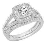 1.00 Carat (ctw) 10K White Gold Round Cut Diamond Ladies Bridal Split Shank Halo Engagement Ring With Matching Band Set 1 CT