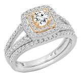 1.00 Carat (ctw) Two Tone Rose Gold Plated 14K White Gold Round Cut Diamond Ladies Bridal Split Shank Halo Engagement Ring With Matching Band Set 1 CT