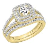 1.00 Carat (ctw) 14K Yellow Gold Round Cut Diamond Ladies Bridal Split Shank Halo Engagement Ring With Matching Band Set 1 CT