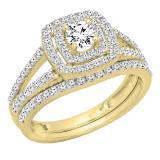 1.00 Carat (ctw) 14K Yellow Gold Round Cut Diamond Ladies Bridal Split Shank Halo Engagement Ring With Matching Band Set 1 CT