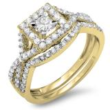 1.00 Carat (ctw) 10K Yellow Gold Princess & Round Cut Diamond Ladies Twisted Split Shank Bridal Halo Engagement Ring With Matching Band Set 1 CT
