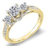 1.00 Carat (ctw) 14K Yellow Gold Round White Diamond 3 Stone Ladies Bridal Engagement Ring 1 CT